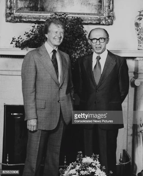 Israeli Prime Minister Menachem Begin with US President Jimmy Carter at the Oval Office in the White House, Washington, DC, 19th July 1977. They are...