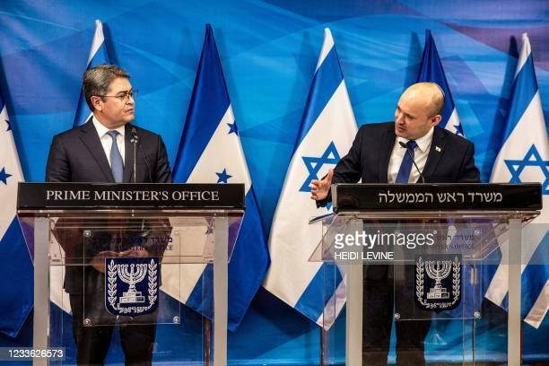 Israeli Prime Minister Naftali Bennett and Honduran President Juan Orlando Hernandez , give statements at the Prime Minister's Office in Jerusalem on...