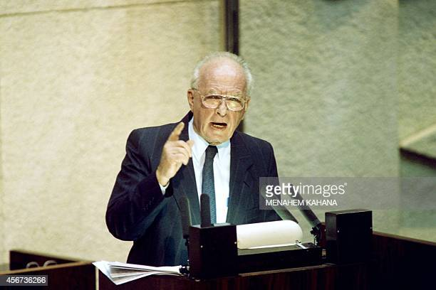 Israeli Prime Minister Yitzhak Rabin adresses the Knesset on October 3, 1994 during the opening of the winter session of the Israeli Parliament in...