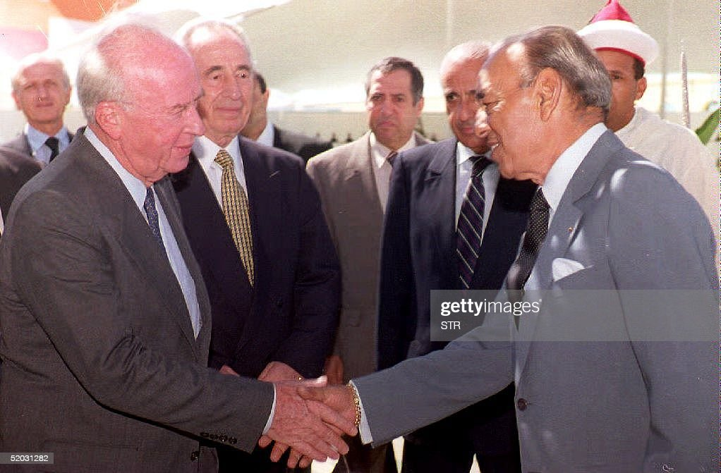 Israeli Prime Minister Yitzhak Rabin (L) and his F : News Photo
