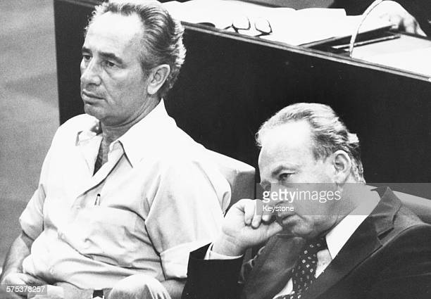 Israeli Prime Minister Yitzhak Rabin and Israeli Defense Minister Shimon Peres pictured looking tired during a meeting at Knesset, Israel, November...