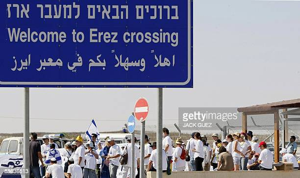 Israeli protestors gather at the Erez crossing during a demonstration marking captured Israeli soldier Gilad Shalit's threeyear captivity on June 23...
