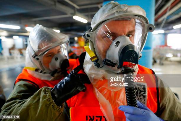 Israeli rescue teams doctors hospital staff and soldiers take part in defence drill simulating a chemical missile attack at Rambam Medical Center in...