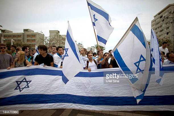 Israeli rightwing activists demonstrate against a 'Nakba Day' ceremony held by Palestinian and Leftwing Israeli students at Tel Aviv University on...