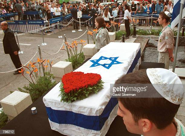 Israeli scouts stand as honor guards for Leah Rabin, wife of assassinated former Prime Minister Yitzhak Rabin, November 15, 2000 in Tel Aviv, Israel....