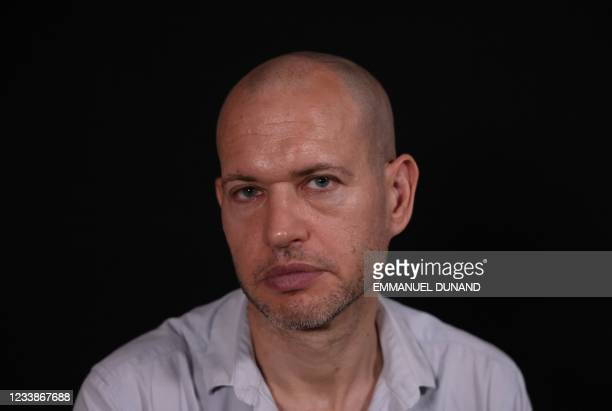 Israeli screenwriter and film director Nadav Lapid poses for a photo during an interview with Agence France-Presse in Tel Aviv, ahead of the Cannes...