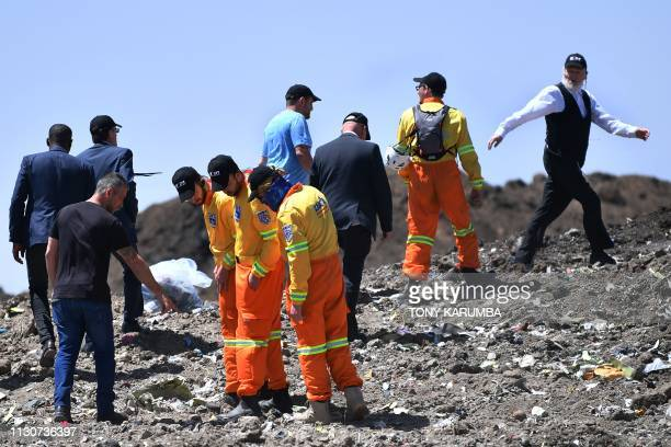 Israeli search and rescue international team ZAKA members headed by Rabbi Yehuda Meshi Zahav arrive on March 15 at the crash site of the Ethiopian...