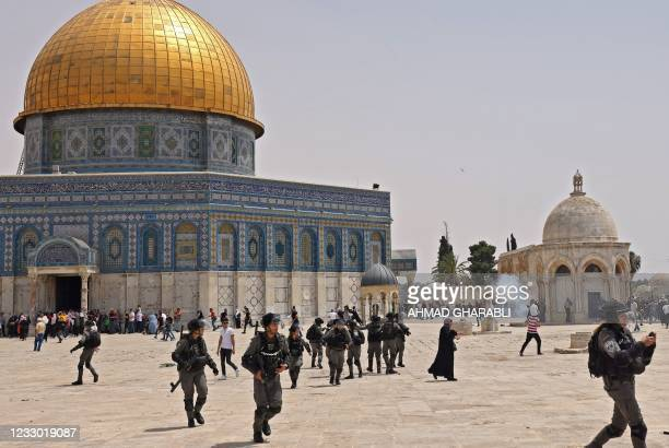 Israeli security forces and Palestinian Muslim worshippers clash in Jerusalem's al-Aqsa mosque compound, the third holiest site of Islam, on May 21,...