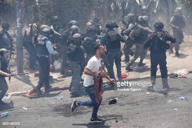 Israeli security forces attack Palestinians during a demonstration to protest metal detectors installed by Israeli authorities to Al-Aqsa Mosque...