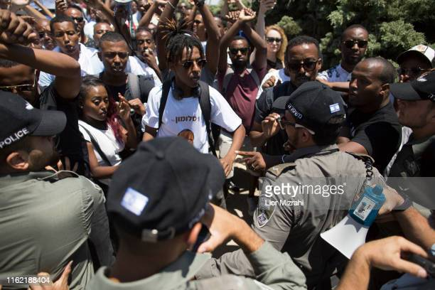 Israeli Security forces clash with Israelis of Ethiopian origin as they protest outside the Knesset on July 15 2019 in Jerusalem Israel The protests...