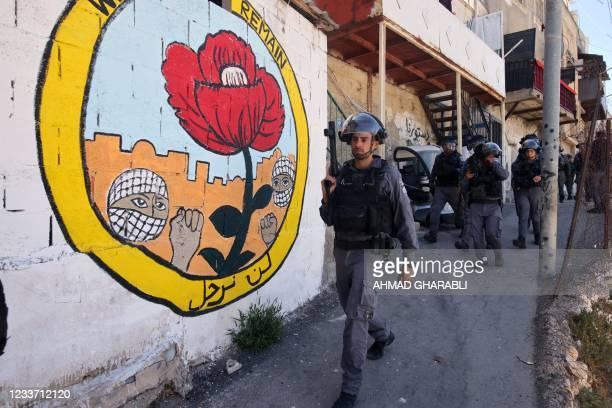 Israeli security forces deploy during the demolition of Palestinian shops in Israeli-annexed east Jerusalem's predominantly Arab neighbourhood of...