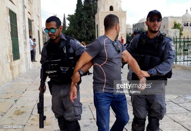 Israeli security forces detain a member of Jerusalem Islamic Waqf after Israeli Agriculture Minister Uri Ariel and dozens of Israeli settlers storm...