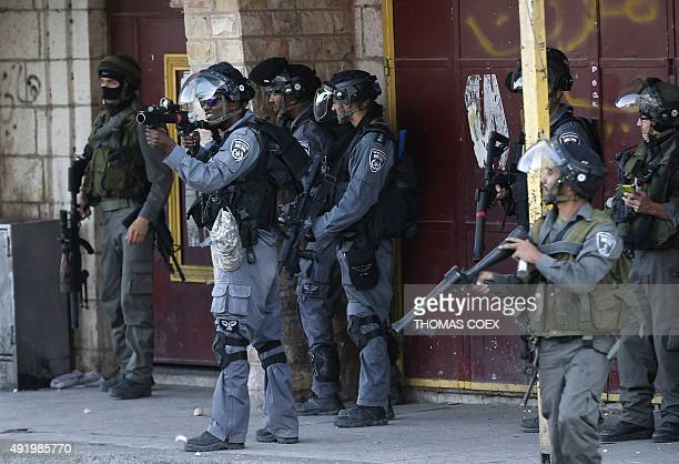 Israeli security forces fire tear gas canisters and rubber bullets towards Palestinian demonstraters during clashes in the Palestinian neighbourhood...