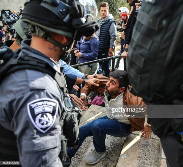 Israeli security forces interfere the Muslims protesting against US President Donald Trumps announcement to recognize Jerusalem as the capital of...