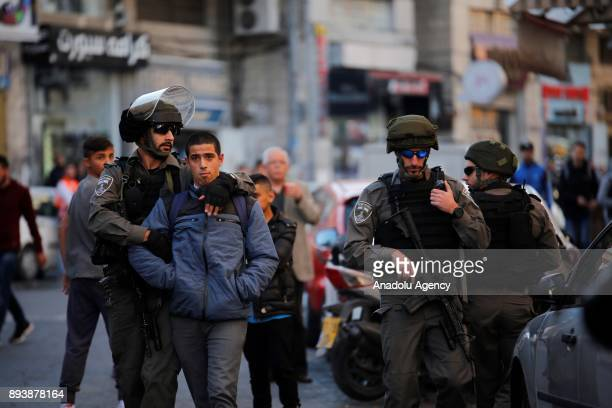 Israeli security forces intervene demonstrators during a protest against U.S. President Donald Trumps announcement to recognize Jerusalem as the...