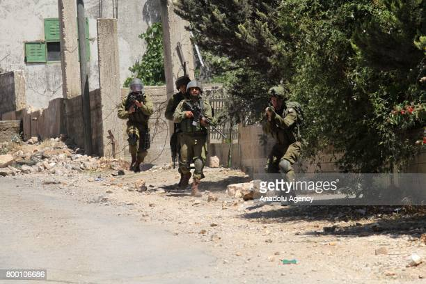 Israeli security forces intervene in a protest against Jewish settlements and the Israeli West Bank barrier at Kafr Qaddum district of Nablus West...