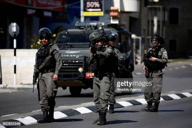 Israeli security forces intervene in a protest against the US decision to recognize Jerusalem as Israel's capital on the 100th day of its...