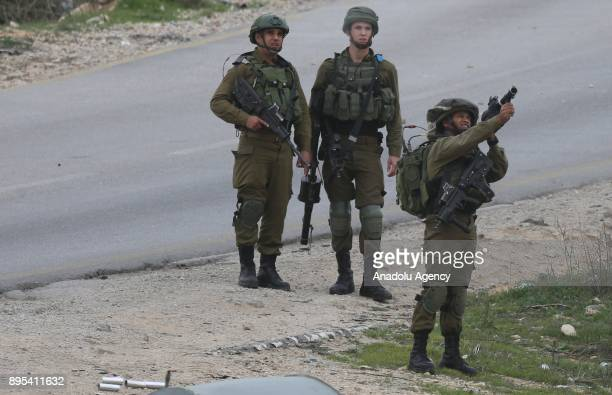 Israeli security forces intervene Palestinian demonstrators with gas canisters during a demonstration against US President Donald Trump's recognition...