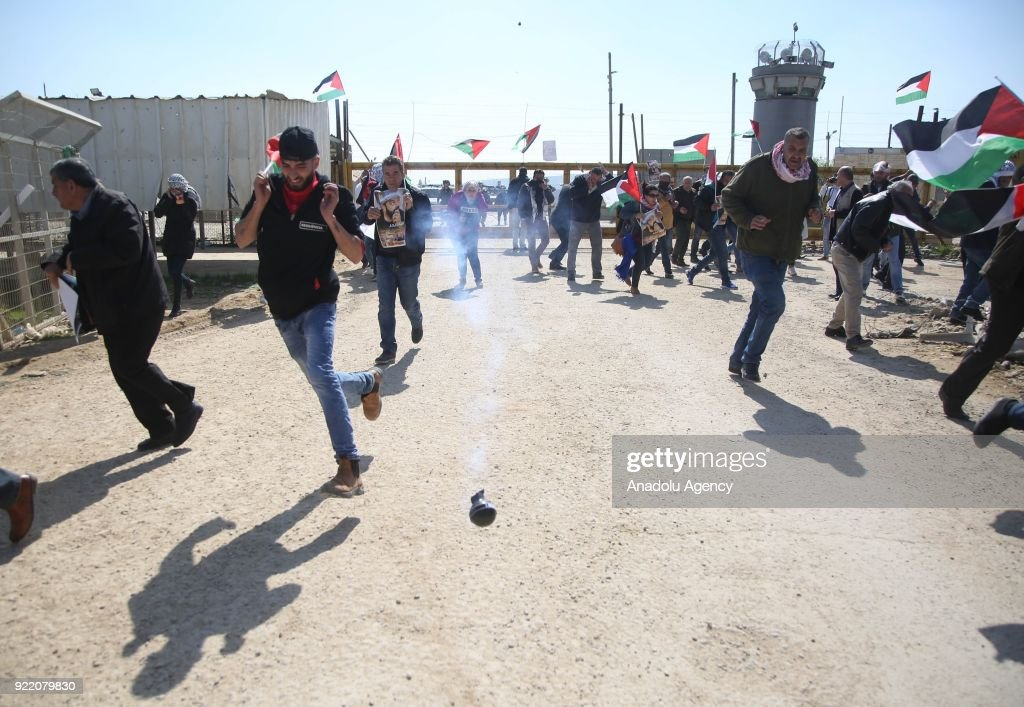 Israeli security forces intervene Palestinians during a protest, organized by Palestine Committee Against the Wall and Settlements, which has connection with Palestine Liberation Organization, against Munzir Amira's detention at Ofer Prison located in west of Ramallah, West Bank on February 21, 2018.