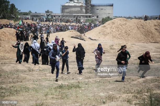 Israeli security forces intervene Palestinians during a protest organized to mark 70th anniversary of Nakba also known as Day of the Catastrophe in...