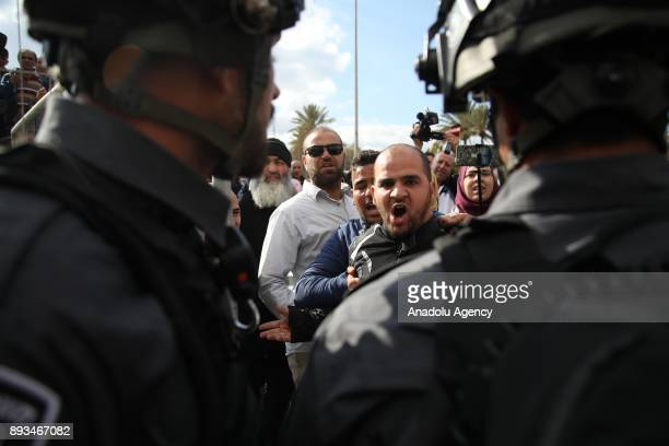 Israeli security forces intervene the Muslims protesting against US President Donald Trumps announcement to recognize Jerusalem as the capital of...