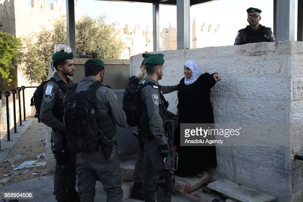 Israeli security forces intervene to demonstrators as Palestinians stage a protest against US decision to relocate the U.S. Embassy from Tel Aviv to...