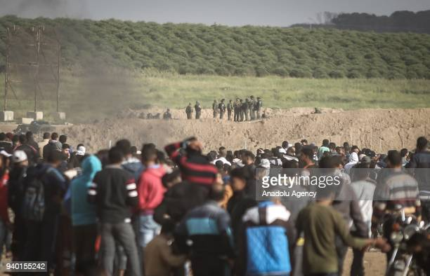 Israeli security forces intervene to Palestinian demonstrators during the 'Great March of Return' at EzZeitoun town south of Gaza City Gaza on March...