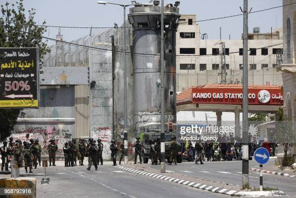 Israeli security forces intervene to Palestinian demonstrators during a protest organized to mark 70th anniversary of Nakba also known as Day of the...
