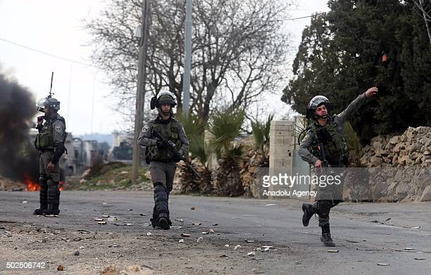 Israeli security forces intervene to Palestinians during the clashes following a protest over the killing of Palestinian Mahdiya Hamid by Israeli...