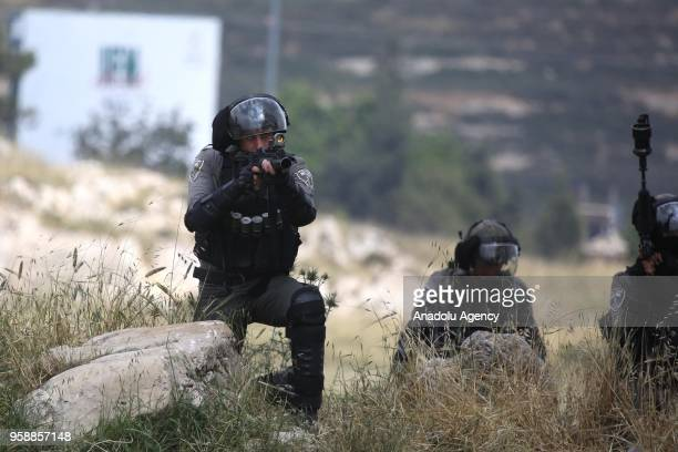 Israeli security forces intervene to protesters during a protest organized to mark 70th anniversary of Nakba also known as Day of the Catastrophe in...