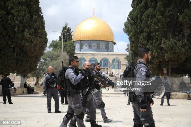 Israeli security forces take security measures as Jewish settlers invade AlAqsa Mosque Compound in Jerusalem on May 13 2018