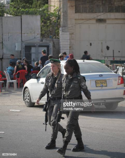 Israeli security forces take security measures in Hebron West Bank on July 26 2017 Abu Rajab family are dismissed from their house which is located...