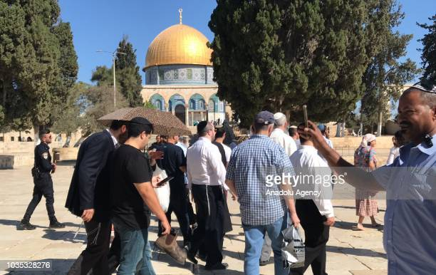 Israeli settlers storm AlAqsa compound in company with Israeli security forces in East Jerusalem on September 18 2018
