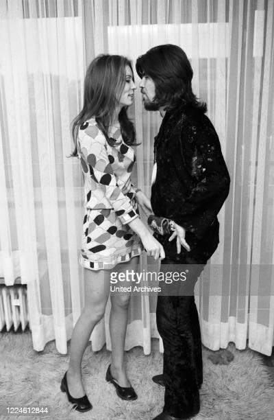 Israeli singer Abi Ofarim and German actress Iris Berben Germany 1970s