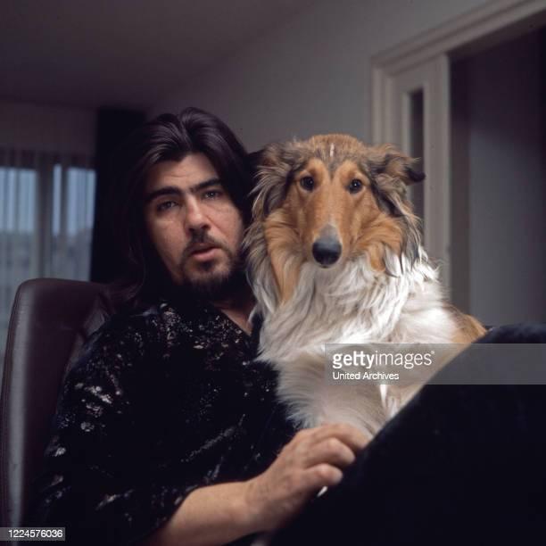 Israeli singer Abi Ofarim with dog Germany 1960s