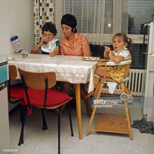 Israeli singer Carmela Corren with her two children, Germany, 1960s.