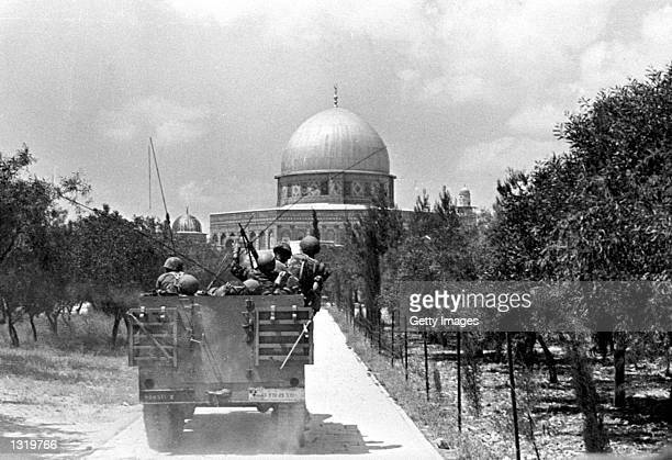 Israeli soldiers approach the Dome on the Rock June 7,1967 on the Temple Mount in Jerusalem, Israel on the day of its capture from Jordanian forces...