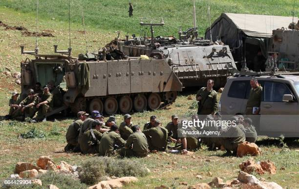 Israeli soldiers are seen as they conduct a military drill in Akraba villiage of Nablus West Bank on April 4 2017