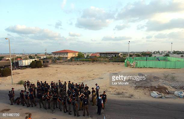 Israeli soldiers are seen in the Jewish settlement of Neve Dekalim southern Gaza Strip Thursday August 18 2005 In Neve Dekalim Gaza's largest...