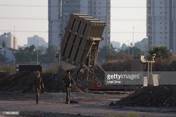Israeli soldiers at the 'Iron Dome' missile defense system as it is deployed on August 31, 2013 in Tel Aviv, Israel. Tensions are rising in Israel...