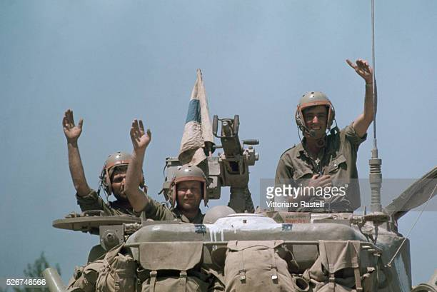 Israeli soldiers cheer as they return victorious from the SixDay War By June 10 when the fighting was halted Israel controlled the entire Sinai...