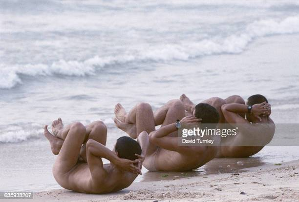 Israeli Soldiers Doing Sit Ups in the Surf