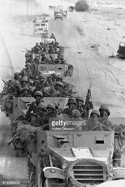 Israeli soldiers drive their vehicles in a convoy during the SixDay War
