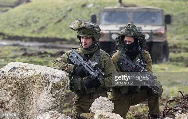 Israeli soldiers from the Golani Brigade take part in a military training exercise in the Israeli-annexed Golan Heights near the border with Syria on...