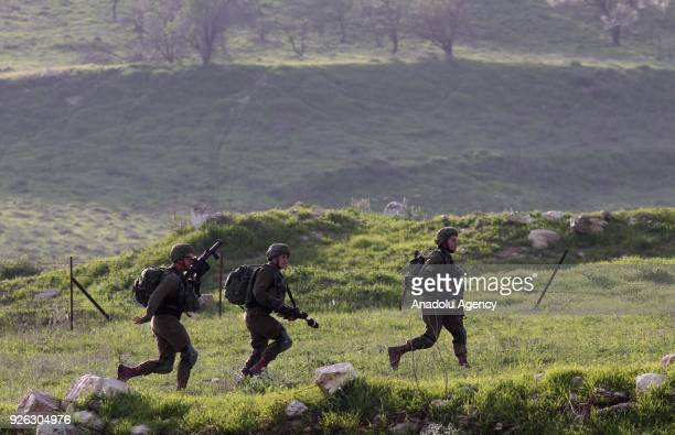 Israeli soldiers intervene in a protest against US decision to recognize Jerusalem as Israel's capital in Nablus West Bank on March 02 2018