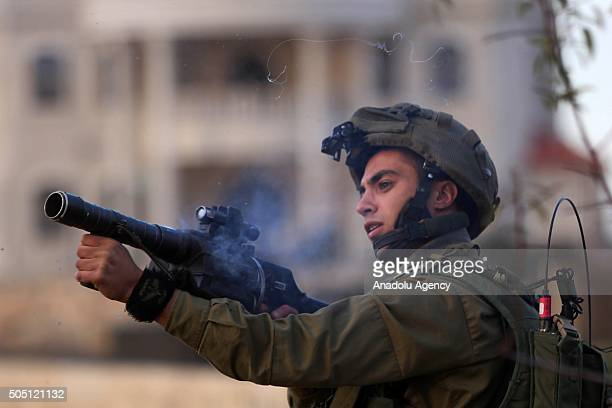 Israeli soldiers intervenes to Palestinian protest against Israeli violations in Ramallah West Bank on January 15 2016