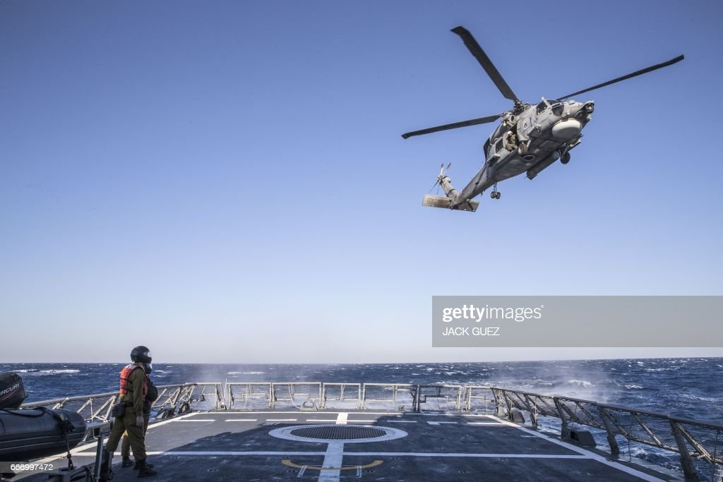 Israeli soldiers onboard the Israeli vessel Saar 5 Class