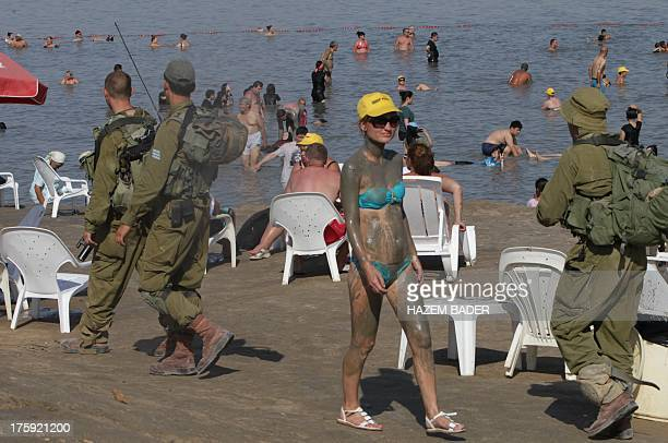 Israeli soldiers patrol the coast at the Dead Sea on the Israeli side of the popular tourist site known for it's mineralrich mud on August 10 2013...
