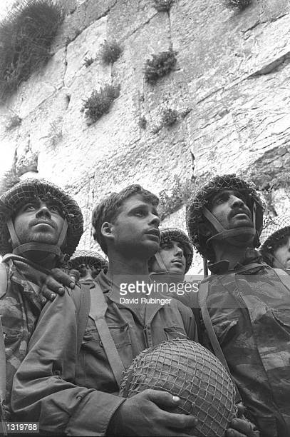 Israeli soldiers pray at the Western Wall June 71967 in Jerusalem on the day of its capture from Jordanian forces in the June 1967 Middle East War