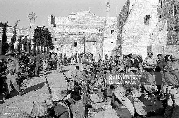Israeli soldiers sitting in the square of the Basilica of the Nativity in Bethlehem in the Six Day War Bethlehem June 1967